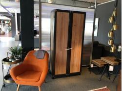 Kast 2 deuren zwart staal en eik - Outlet - Sensa Interieur